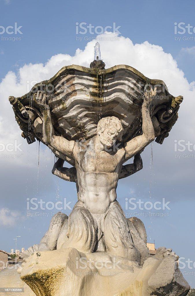 The Neptune fountain in Piazza Bocca della Verita, Rome Italy royalty-free stock photo
