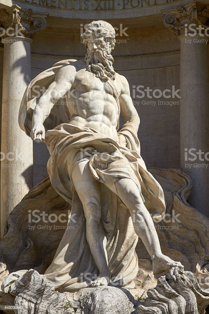 The Neptune Statue of the Trevi Fountain in Rome Italy stock photo