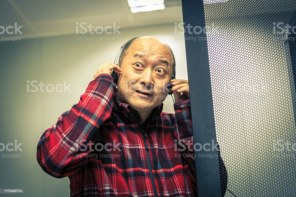 The network administrator was exciting for his success royalty-free stock photo