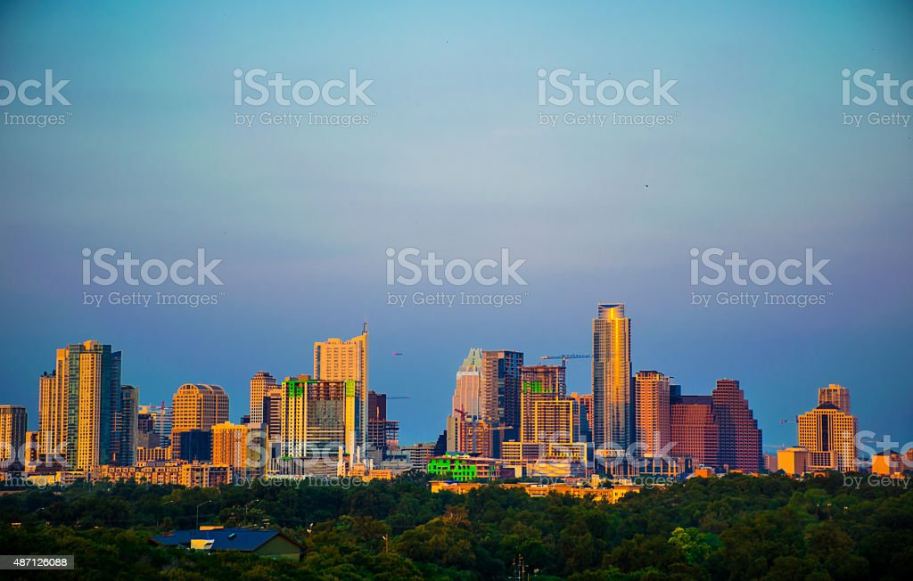 The New 2015 Austin Texas Skyline Vivid Colorful Sunset stock photo