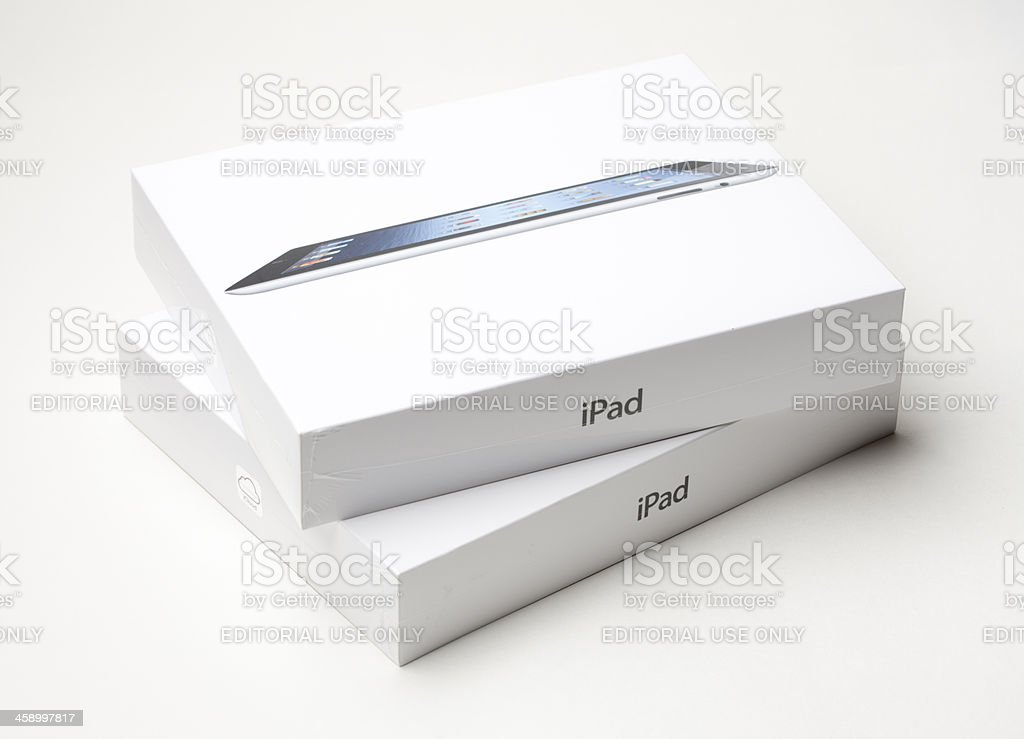 The new Apple iPad Gen 3 Retail Boxes royalty-free stock photo