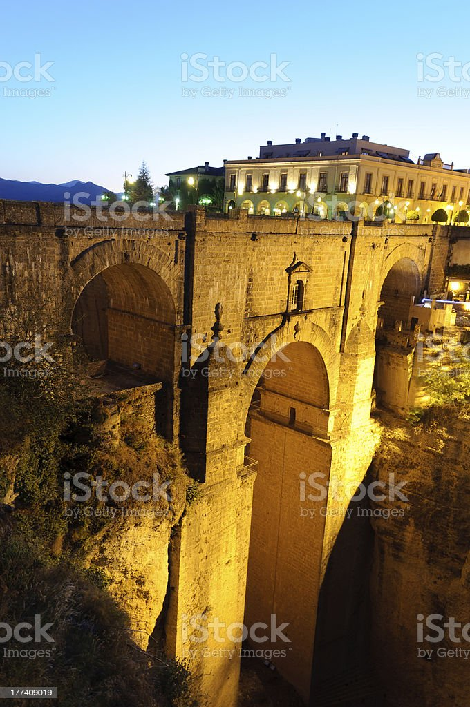 The New Bridge of Ronda, in Spain, Seen at Dusk stock photo