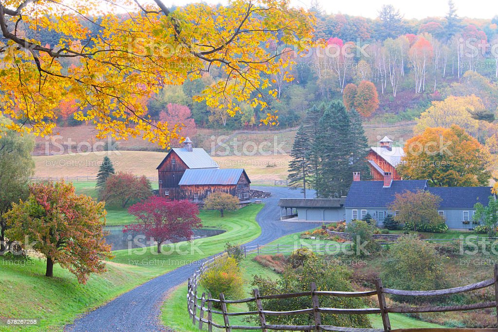 The New England Countryside in Autumn Morning stock photo
