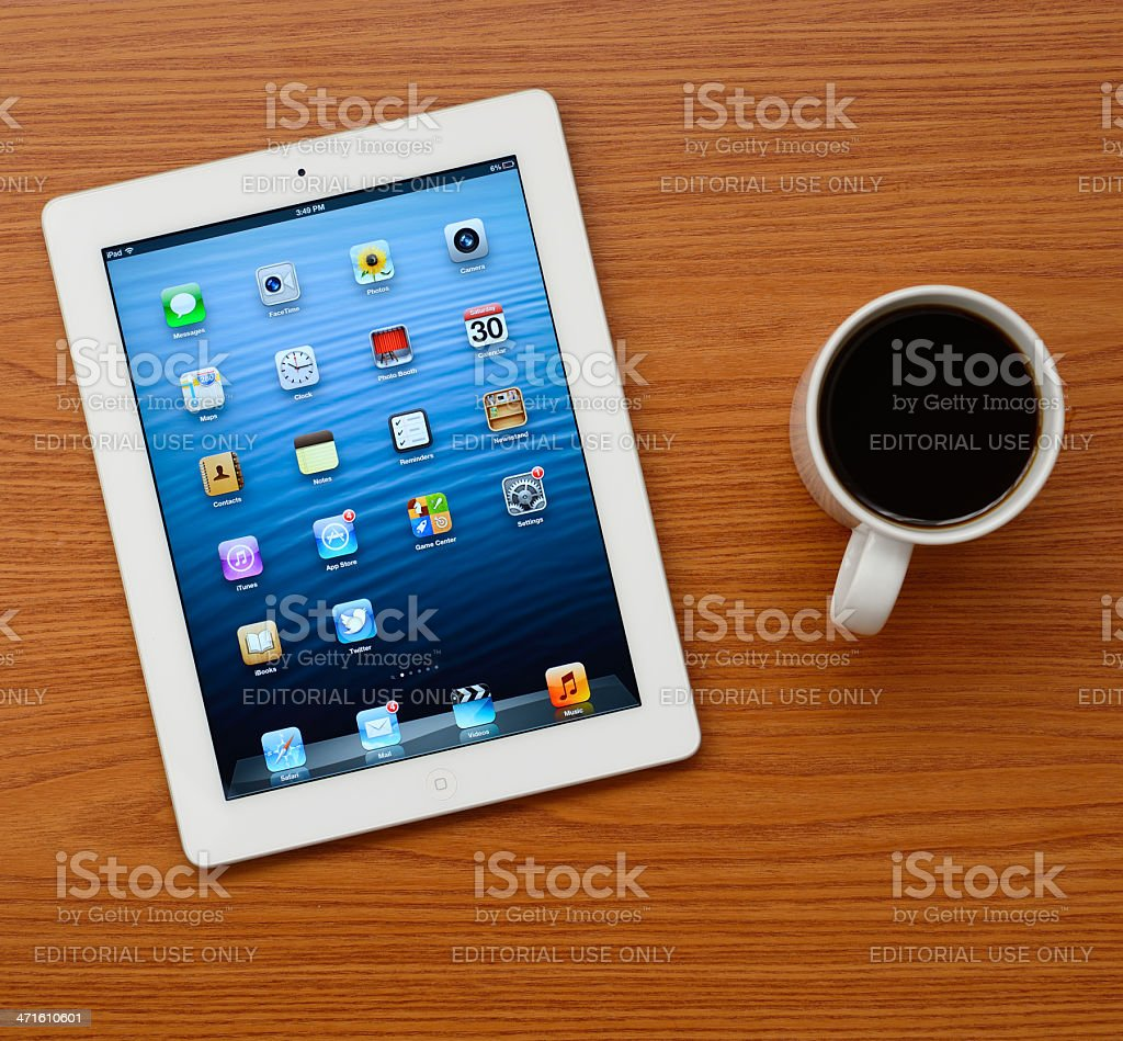 The New iPad white on office desk stock photo