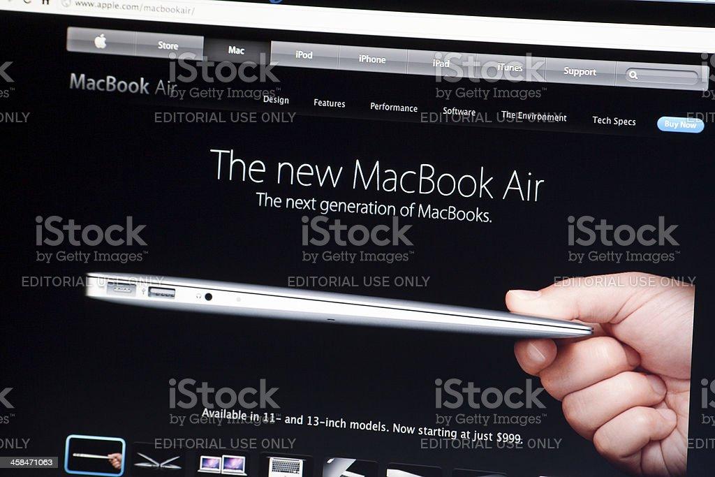 The New MacBook Air on Apple.com Website stock photo