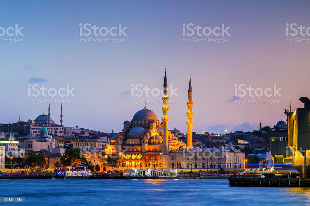 The New Mosque at night,Istanbul,Turkey. stock photo