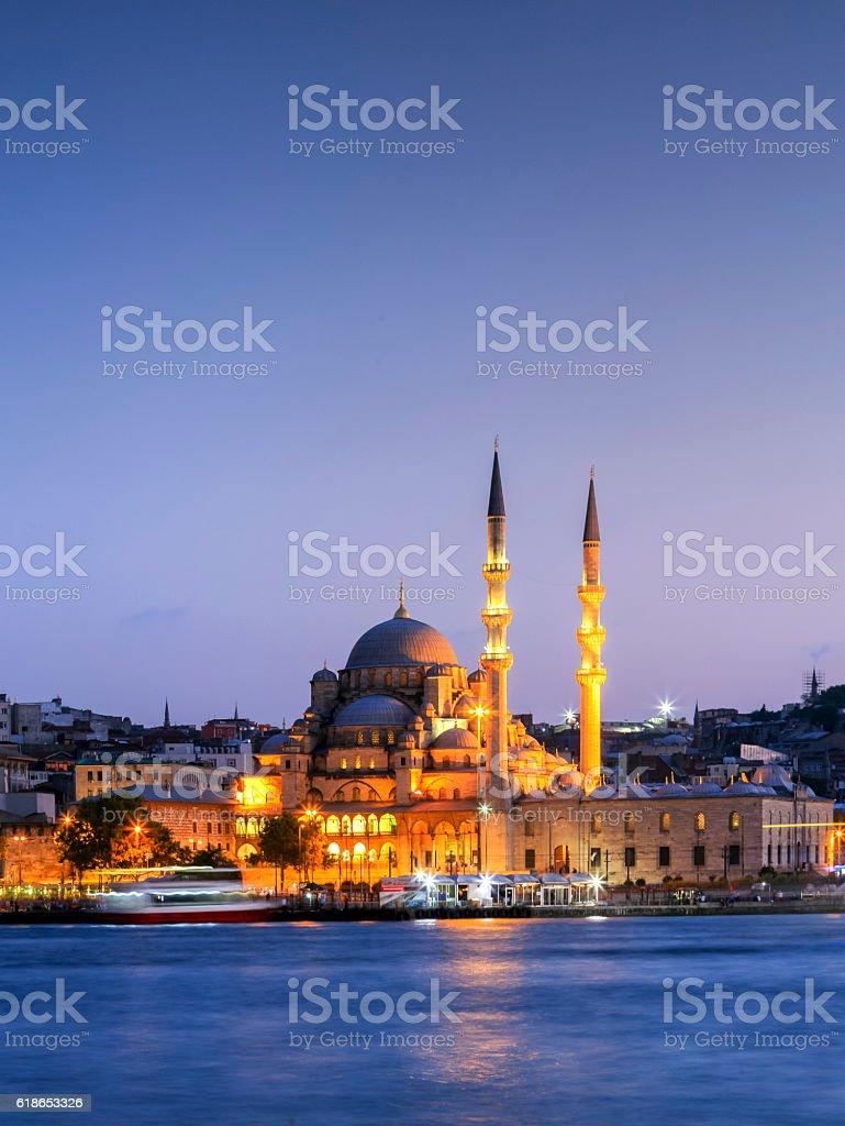 The New Mosque ( Yeni camii ) at night,Turkey. stock photo