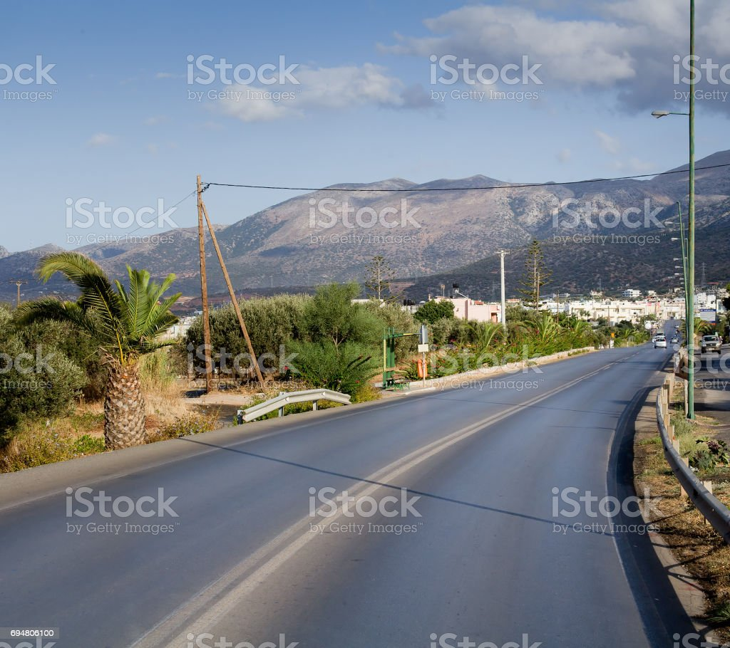 The new national road on the island of Crete stock photo