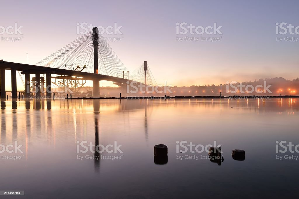 The New Port Mann Bridge at sunrise stock photo