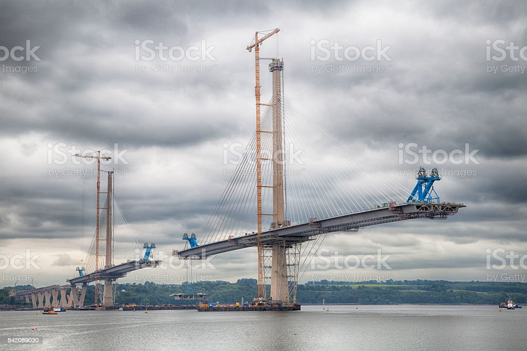 The New Queensferry Crossing taking shape under cloudy skies stock photo