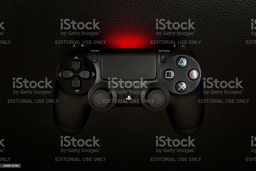 The new Sony Dualshock 4 Black Color stock photo