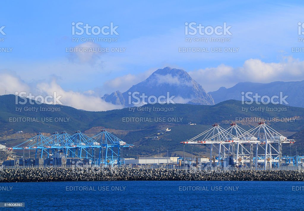 The new Tangier-Med Port in Morocco. stock photo