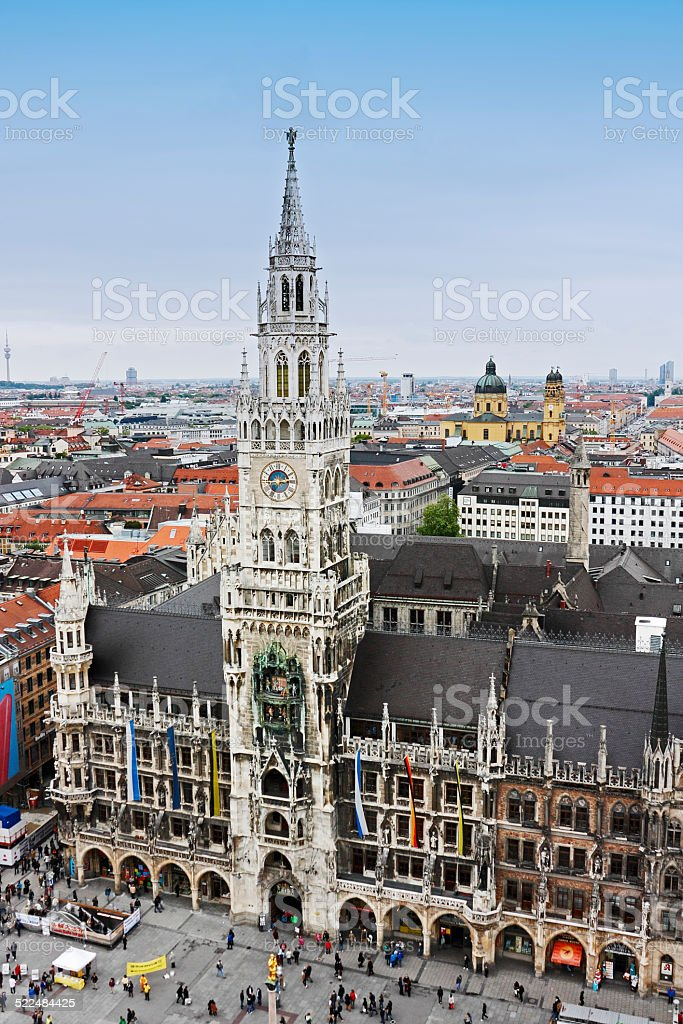 The New Town Hall at Marienplatz in Munich, Germany stock photo