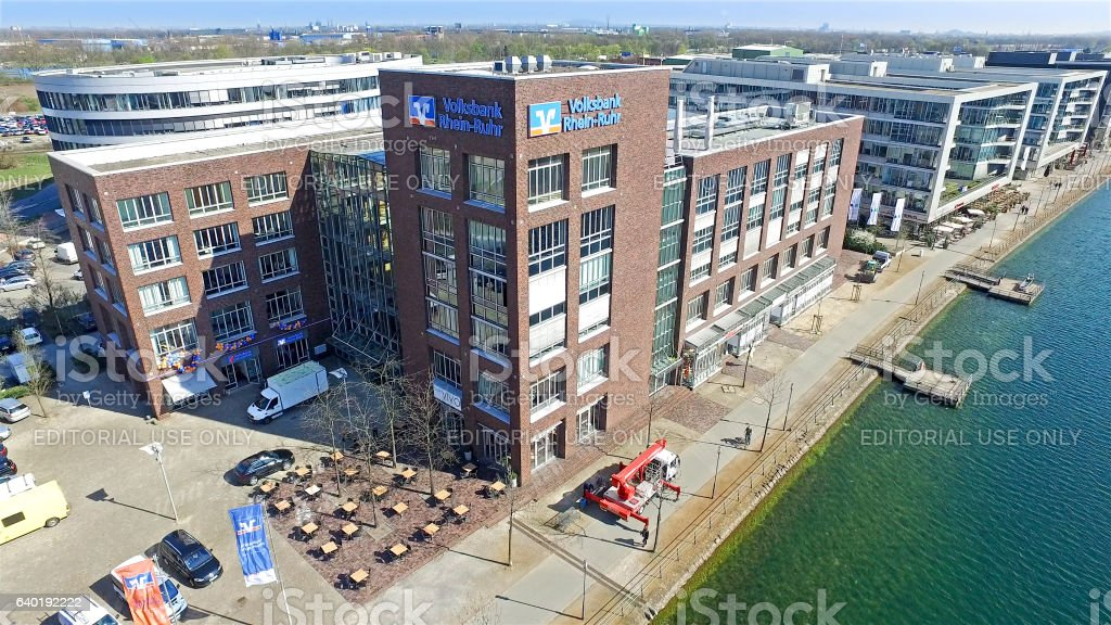 The new Volksbank building in Duisburg stock photo