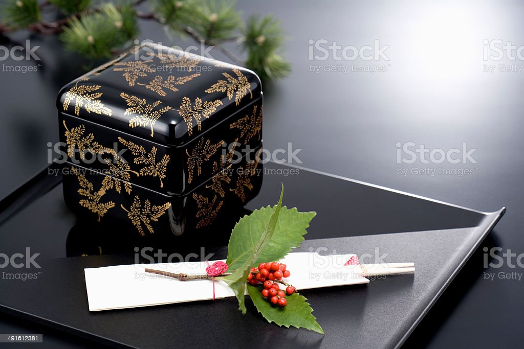 The New Year image of tiered lacquer ware boxes stock photo