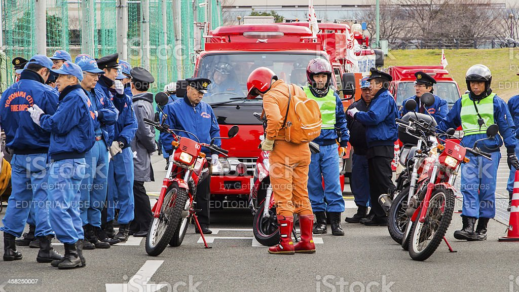 The New Year's Fire Review Kanagawa, Japan royalty-free stock photo