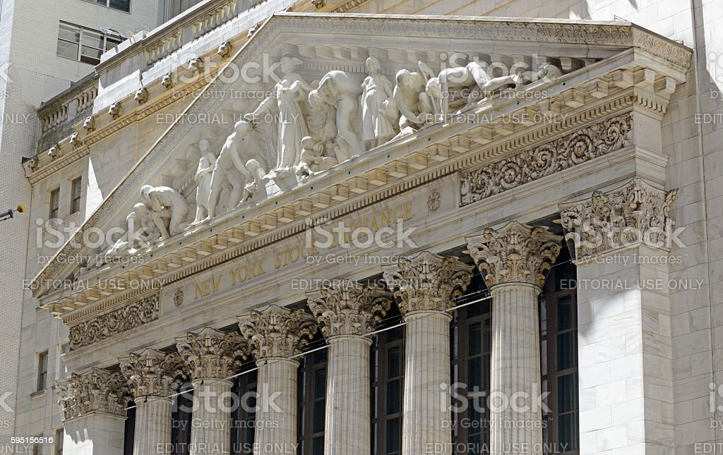 The New York Stock Exchange in downtown Manhattan, New York stock photo