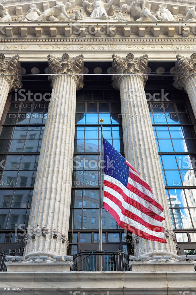 The New York Stock Exchange on Wall Street stock photo