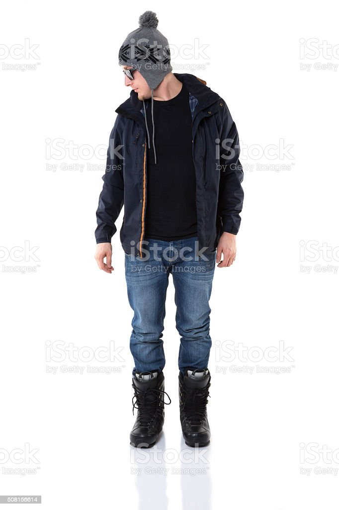 The newest man winter fashion stock photo
