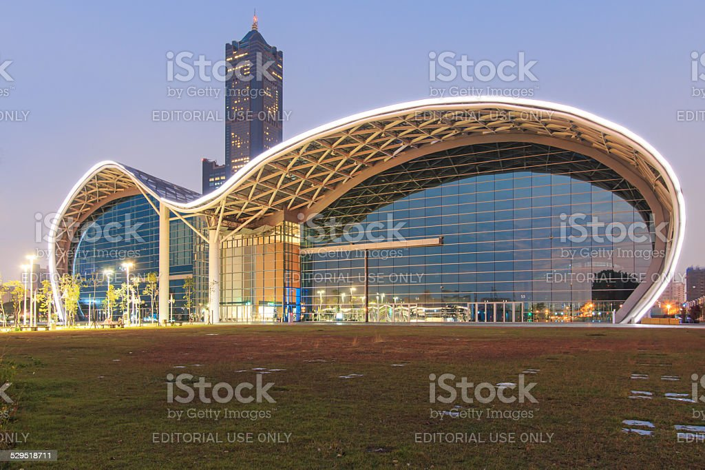 The newly opened Kaohsiung Exhibition Center and the 85 Building. stock photo