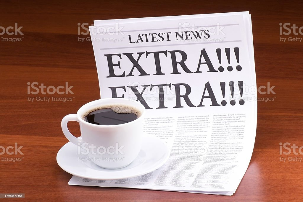 The newspaper EXTRA! royalty-free stock photo