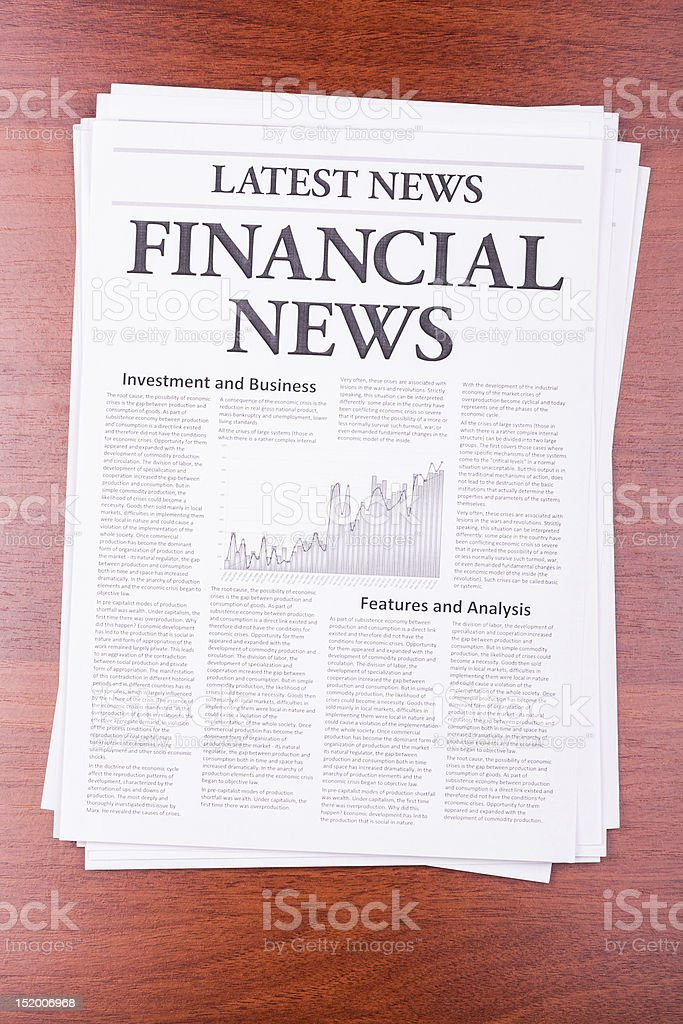 The newspaper FINANCIAL NEWS stock photo