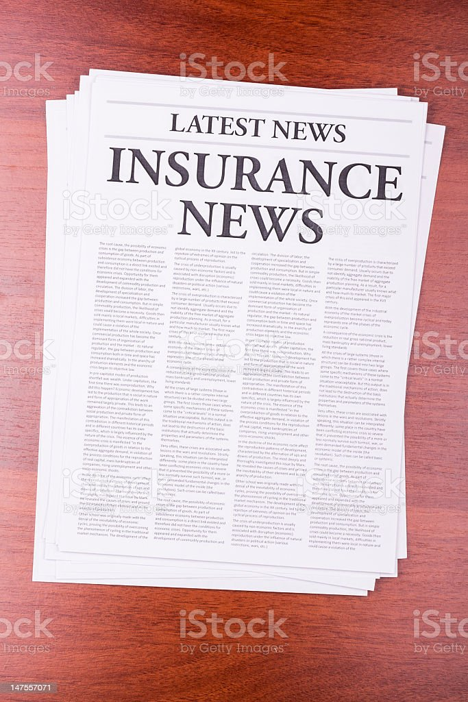 The newspaper INSURANCE NEWS royalty-free stock photo