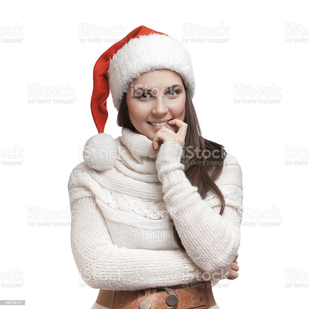 The nice girl is thinking stock photo