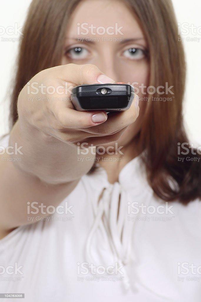 Z ładny Dziewczyna z panelu sterowania elektronicznego zbiór zdjęć royalty-free
