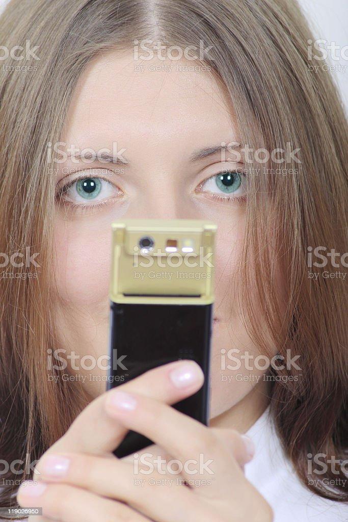 Z ładny Dziewczyna z telefonu komórkowego zbiór zdjęć royalty-free