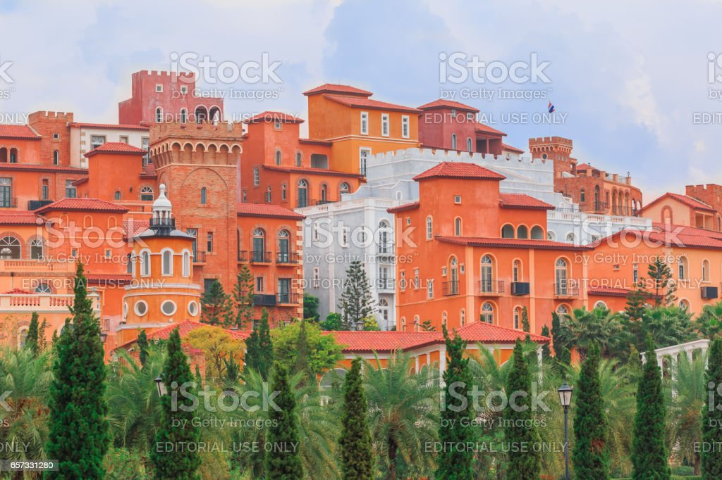 NAKORN RATCHASRIMA, THAILAND - MARCH 22,2017  : The nice model of resorts is most popular for tourists. The classic Italian style are made by mud and orange color stock photo