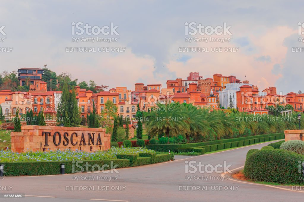NAKORN RATCHASRIMA , THAILAND - MARCH 22,2017 : The nice model of resorts is most popular for tourists. The classic Italian style are made by mud and orange color . stock photo