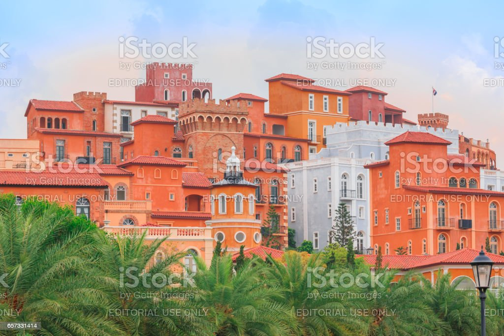 NAKORN RATCHASRIMA, THAILAND - MARCH 22,2017  : The nice model of resorts is most popular for tourists. The classic Italian style are made by mud and orange color . stock photo