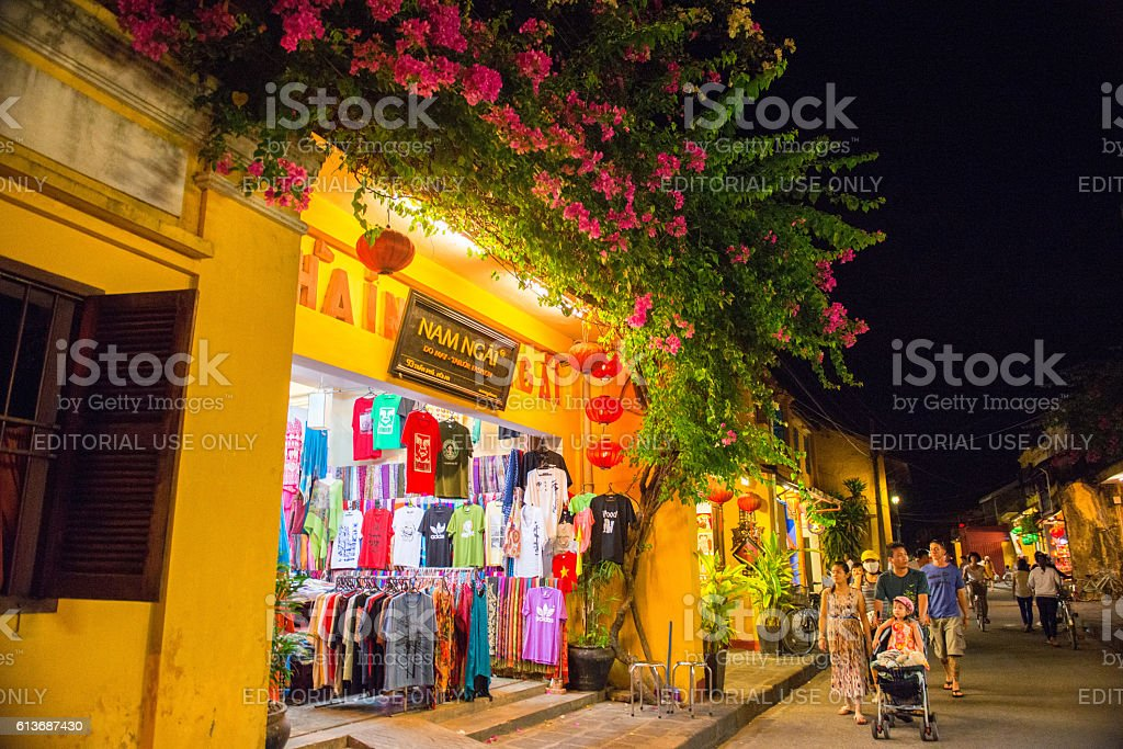 The night at Hoi An ancient town stock photo