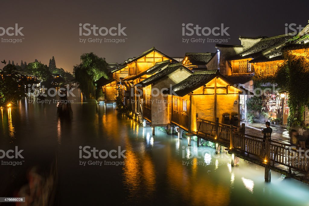 The night fall in the water town stock photo