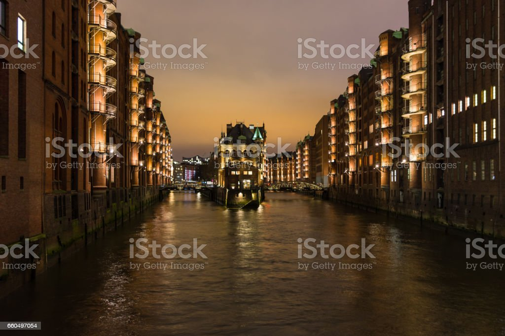 The night landscape on the river in Hamburg,Germany stock photo