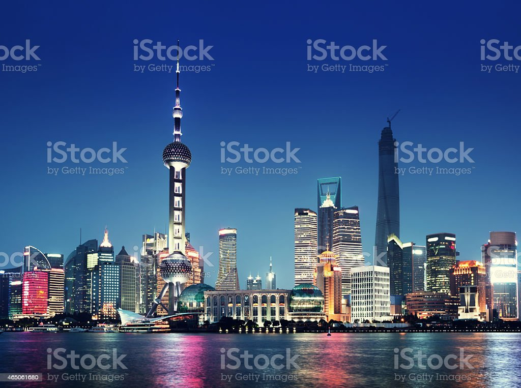The night lights of the city of Shanghai stock photo