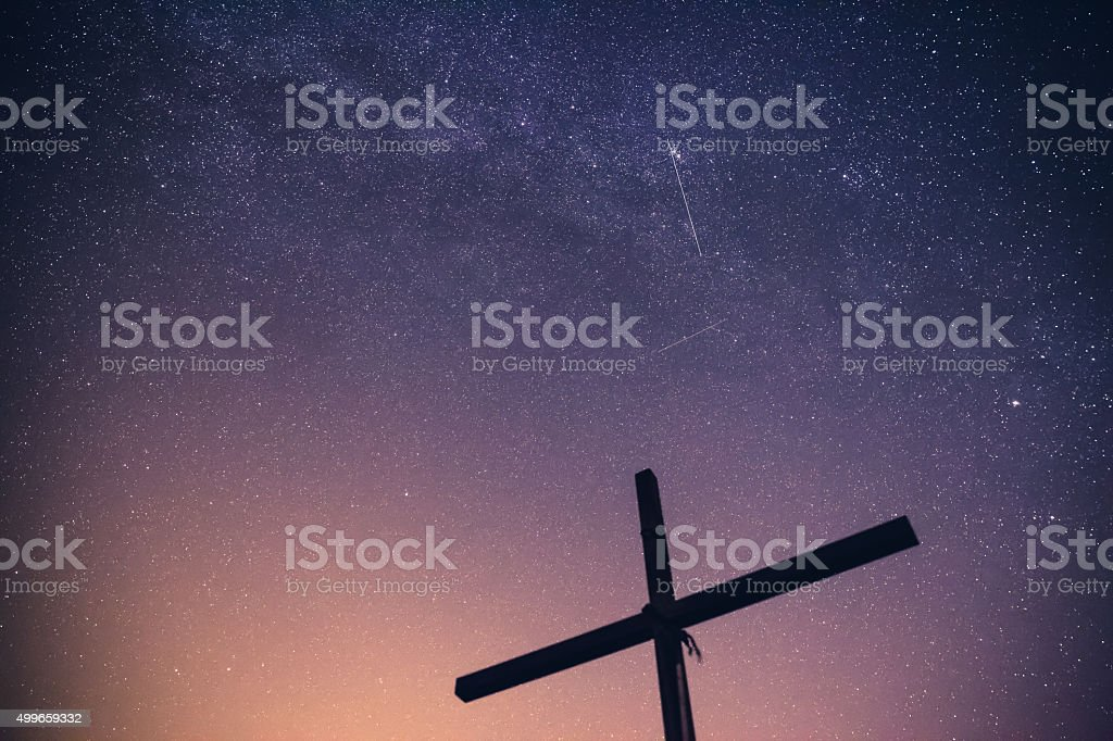 The night of falling stars stock photo