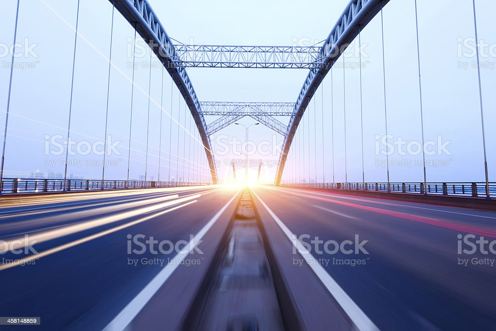 the night of modern bridge, stock photo