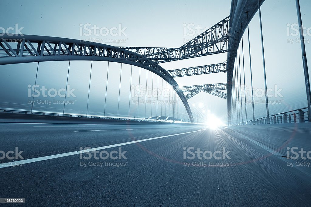 the night of modern bridge stock photo