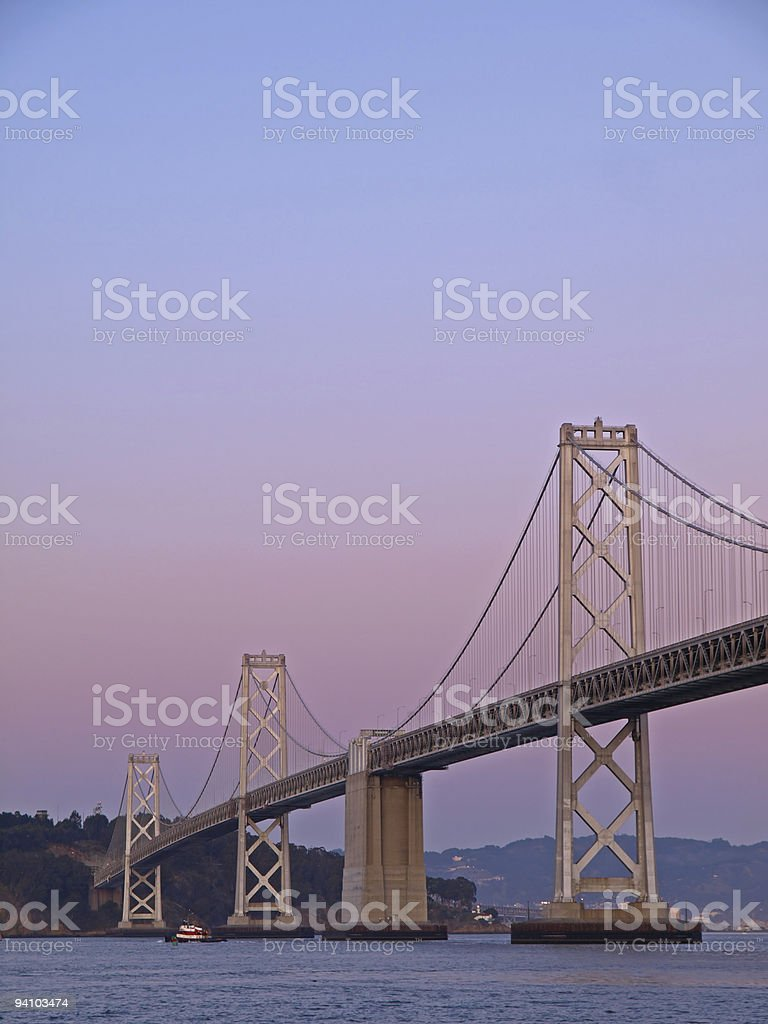 The Night Scene of Bay Bridge royalty-free stock photo