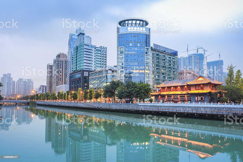 The night scene of chengdu from across the river stock photo