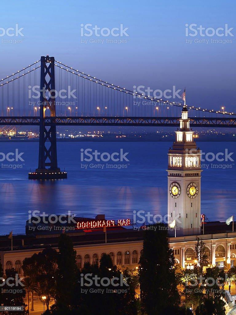 The night scenes of Ferry Building & Bay Bridge royalty-free stock photo