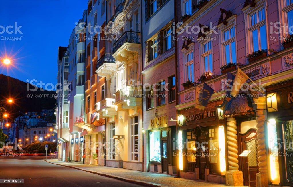 The night street in Karlovy vary ,Czech Republic stock photo