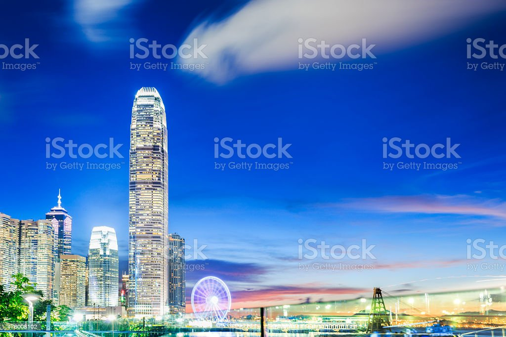 The night view along Victoria Harbour, Hong Kong stock photo