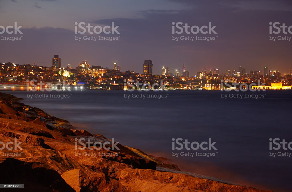 The night view of Beyoglu district shore in Istanbul stock photo