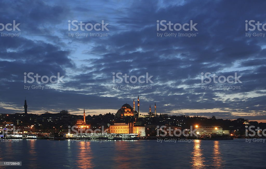The night view of Istanbul stock photo