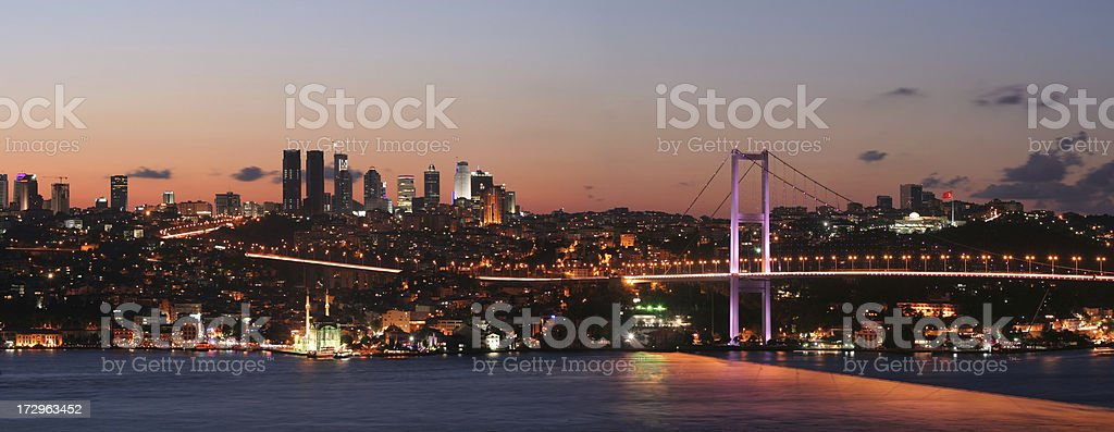 The night view of  Istanbul royalty-free stock photo