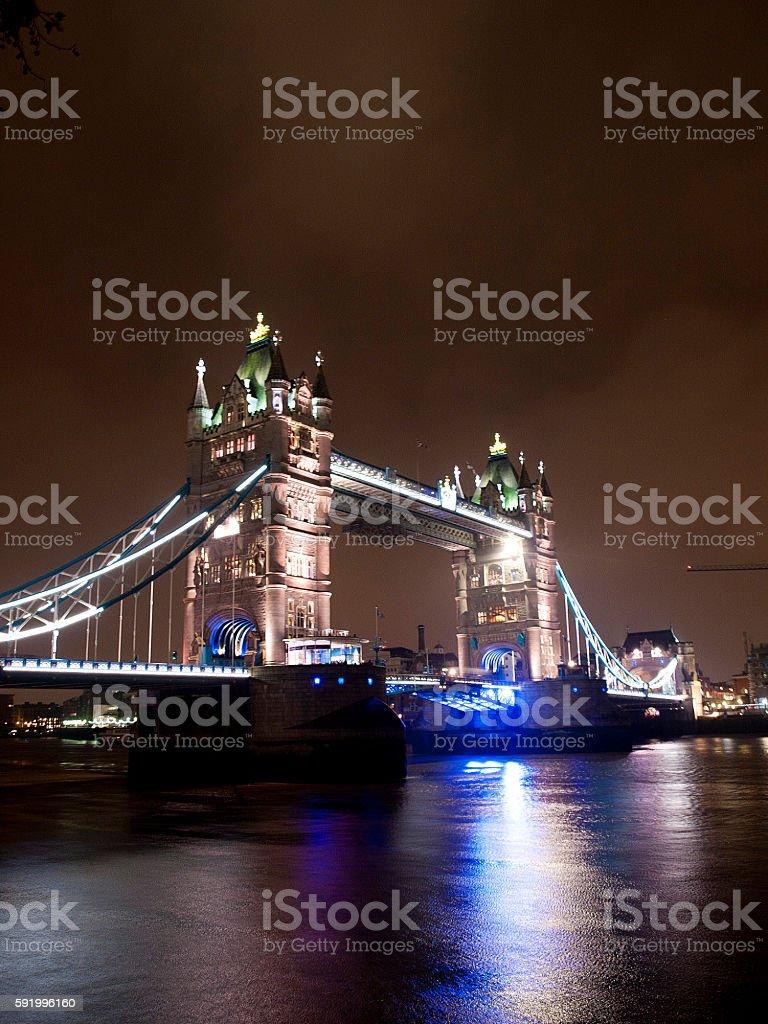 The night view of tower bridge stock photo