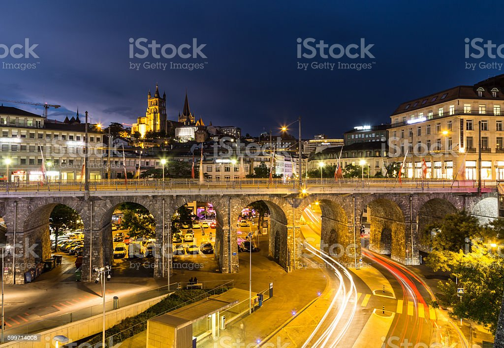 The nights of Lausanne stock photo